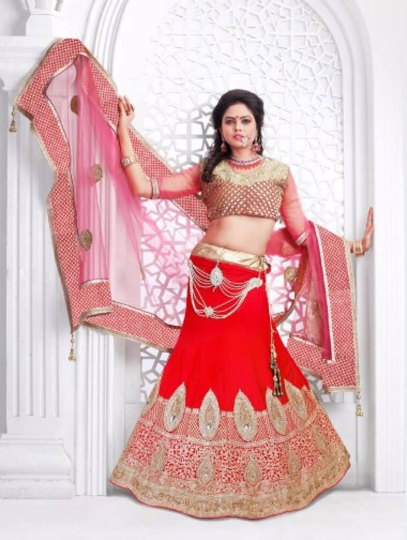 Weding special red velvet embroidered unstitched lehenga choli ...
