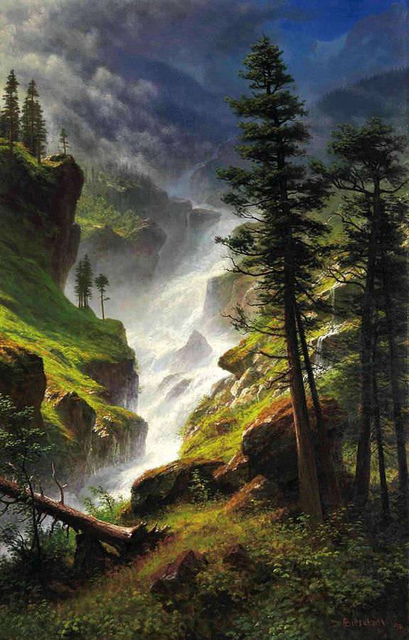 Rocky Mountain Waterfall Painting By Albert Bierstadt Landscape Paintings Albert Bierstadt Waterfall Paintings