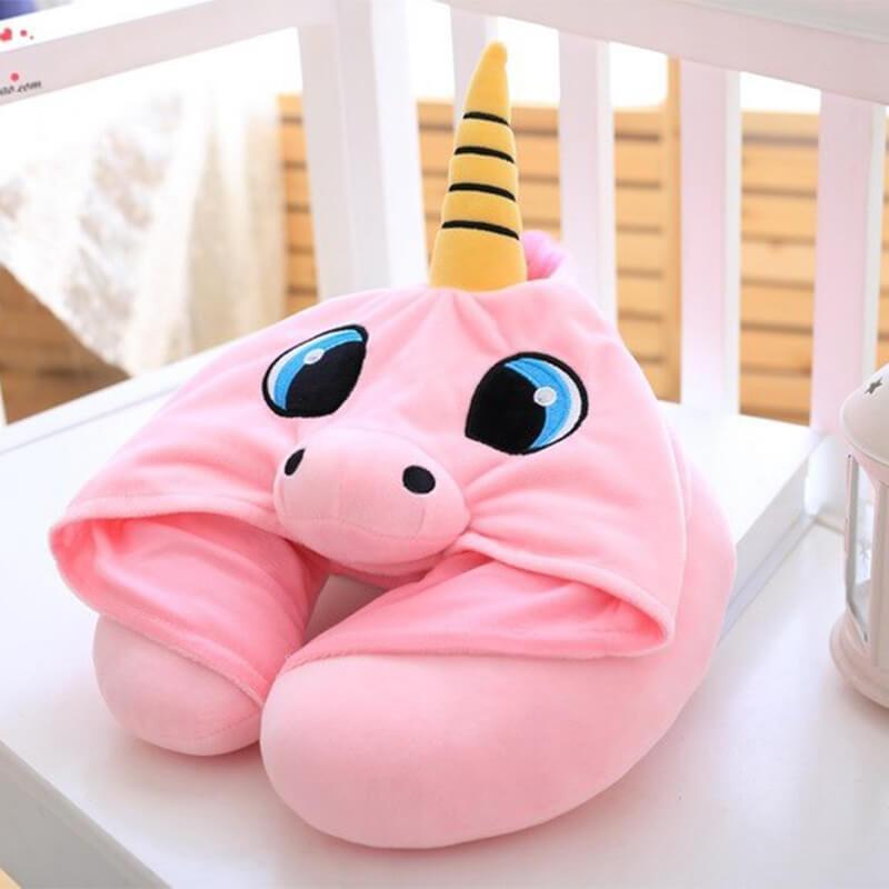 Hooded Unicorn Neck Pillow Hooded