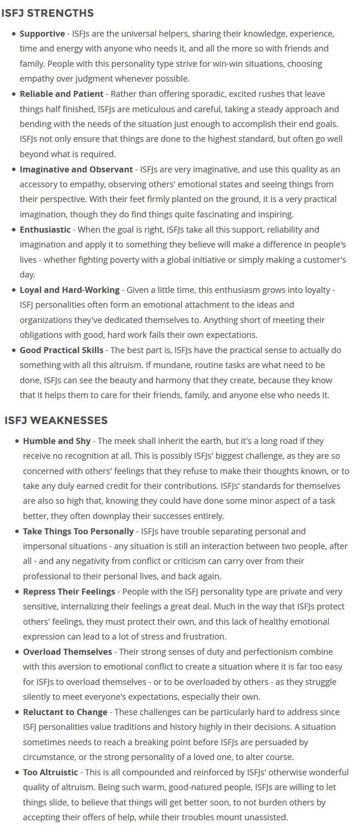 Strengths  Weaknesses  Isfj    Isfj Strength And Mbti