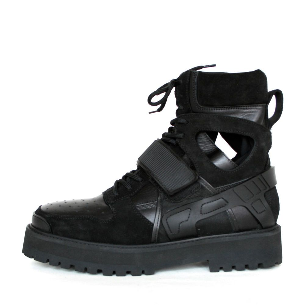 Hba Hood By Air Black Leather Neoprene Forfex Avalanche Strap Boots