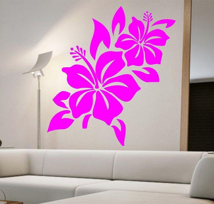 Captivating Hibiscus Flower Wall Decal Namaste Vinyl Sticker Art Decor Bedroom Design  Mural Home Decor Room Decor