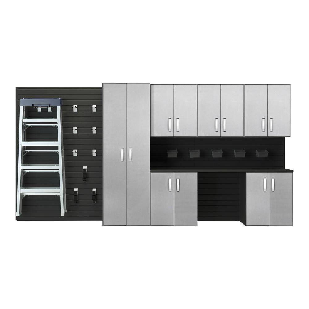 73 in. H x 144 in. W x 17 in. D 7-Piece Deluxe Cabinet Storage Set in Black/Platinum Carbon Fiber