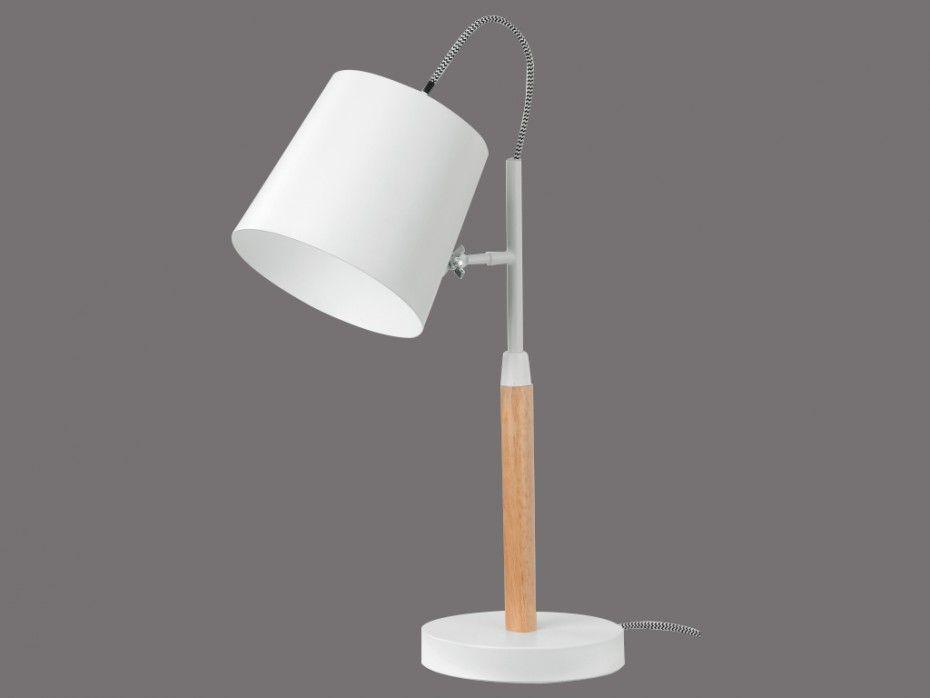 Lampe de bureau AURE blanc et bois L30P15H38cm Stockholm