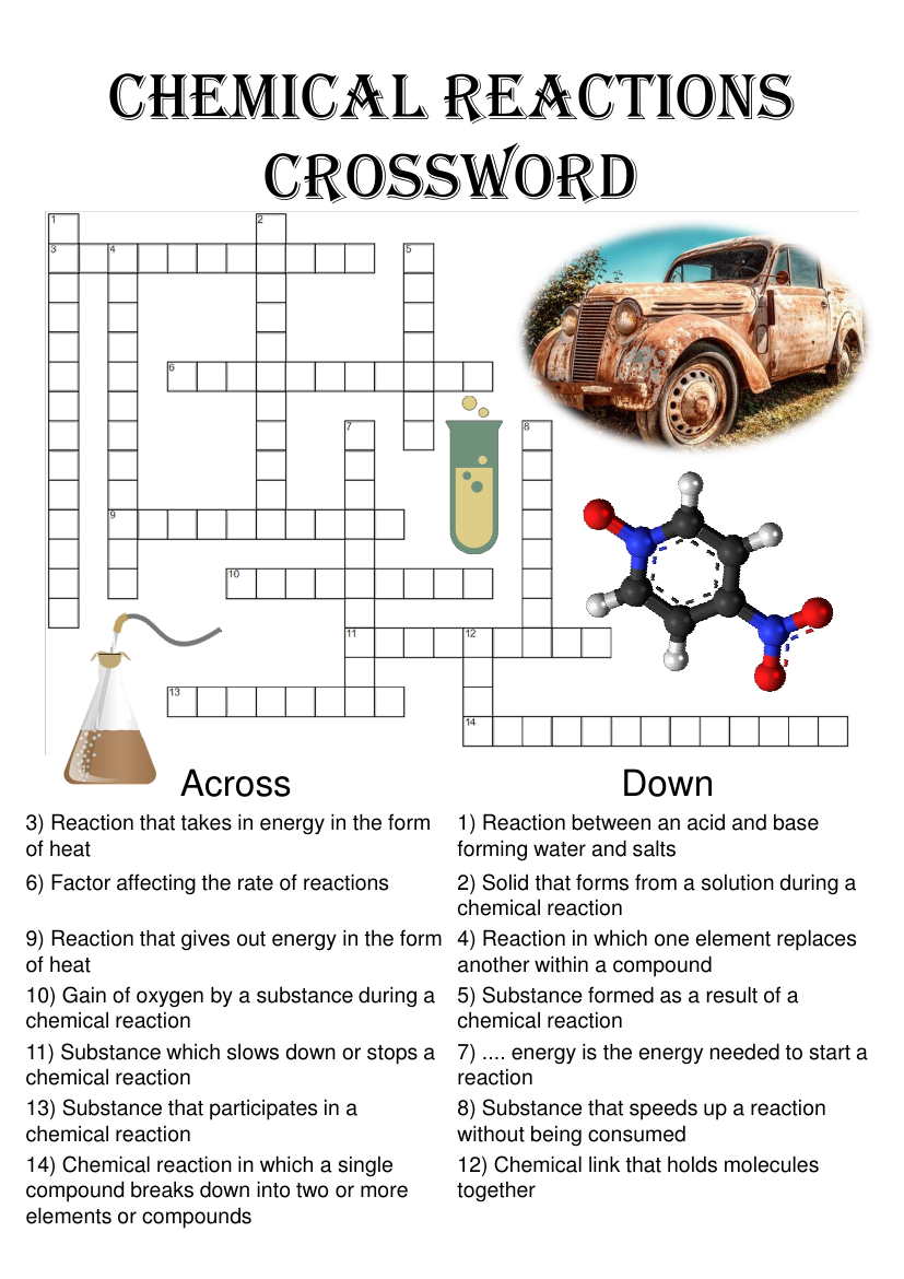 Chemistry Crossword Puzzle Chemical Reactions Includes Answer Key Teaching Resources Chemical Reactions Teaching Chemistry Crossword [ 1170 x 827 Pixel ]