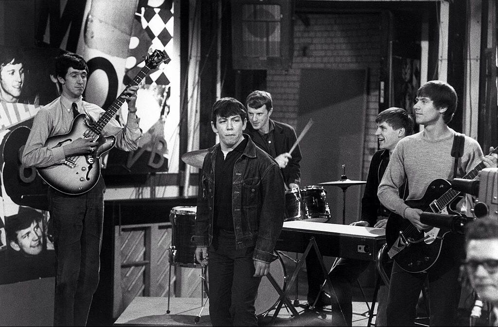 dd3bd4469 The Animals (with guitarist of Carl Perkins' band in place of bass player  Chas Chandler) performing at Television House, Kingsway, UK, c. 1964