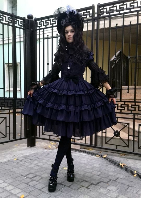My outfit for Gothic&Lolita festival teaparty.  Dress - Millefleurs, blouse - AP, socks - Moitie, shoes - Bodyline, bonnet and gloves - handmade by me