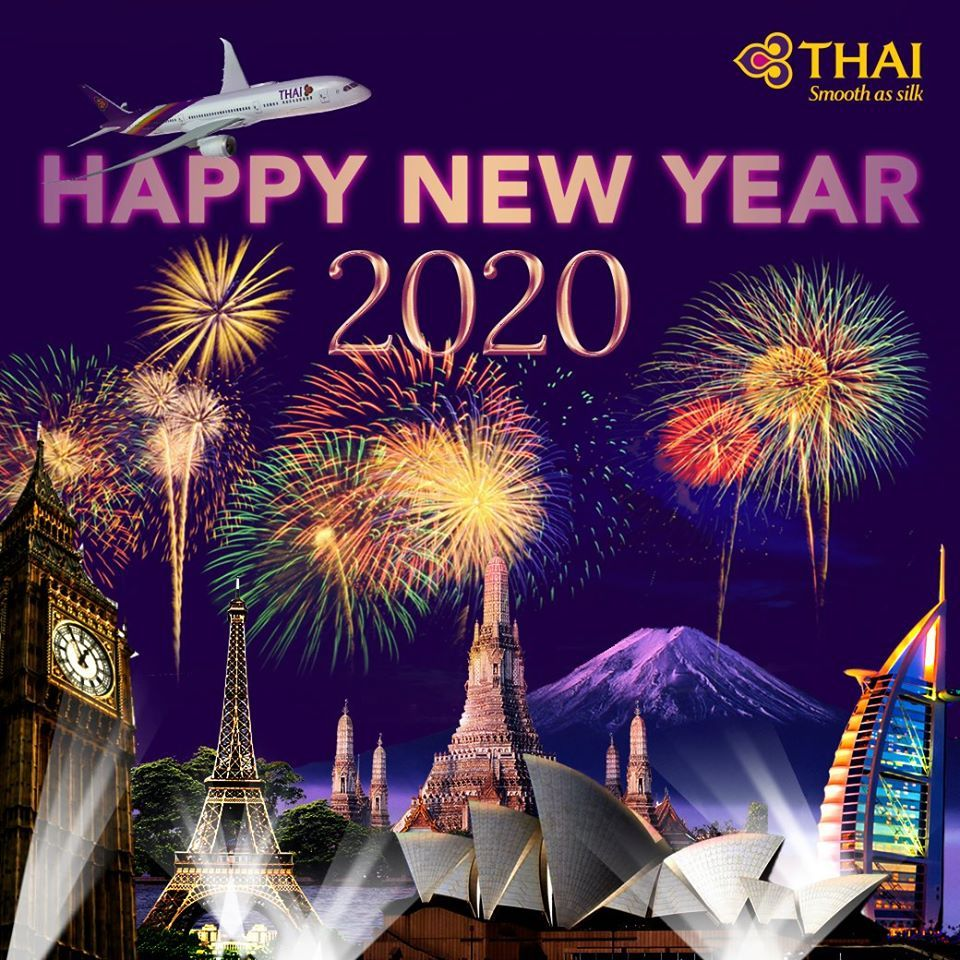 Happy New Year 2020 from Thai Airways! May love, happiness