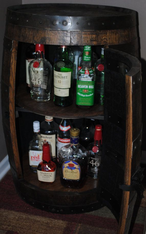 Whiskey Barrel Liquor Cabinet With Double Lazy Susans.