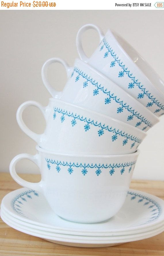 Corelle Snowflake Garland Cup and Saucer Set Pyrex Compatible Dinnerware Set of 4 by LittleShopofWhatNots on Etsy  sc 1 st  Pinterest & ON SALE 20% off Corelle Snowflake Garland by LittleShopofWhatNots ...