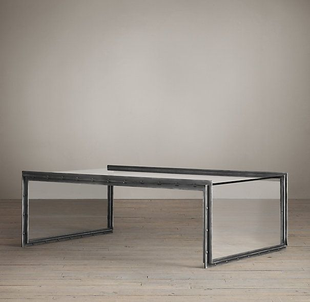 Waterfall Glass U0026 Iron Coffee Table Restoration Hardware On Sale $795 Also  Has Console And Side Tables.