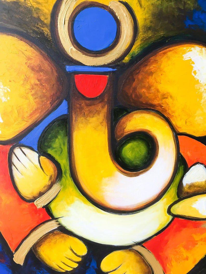 Ganesha Wall Art Indian Decor Modern Indian Art Abstract Etsy Modern Indian Art Ganesh Art Ganesh Art Paintings