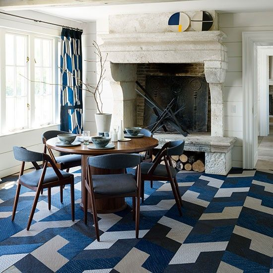 Modern dining room with blue geometric prints | Dining room decorating | housetohome.co.uk