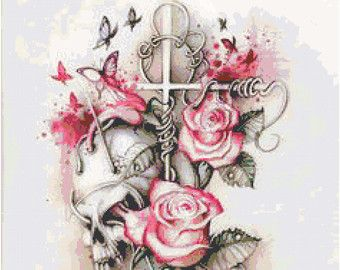 Rose Eye Sky Skull Cross Stitch Printable by KustomCrossStitch