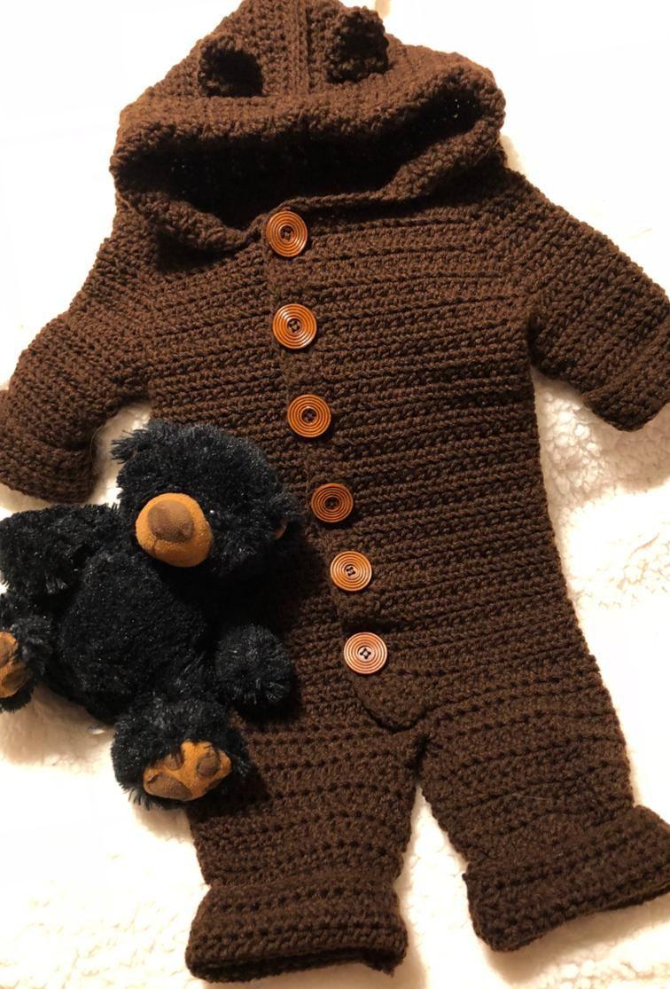 782808ce6cf Crochet Baby Bear Snowsuit