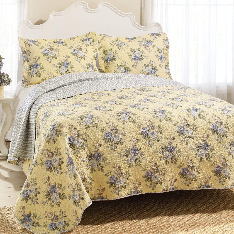 Amazon.com - Laura Ashley Linley Quilt Set, Full/Queen - Laura ... : yellow quilts and comforters - Adamdwight.com
