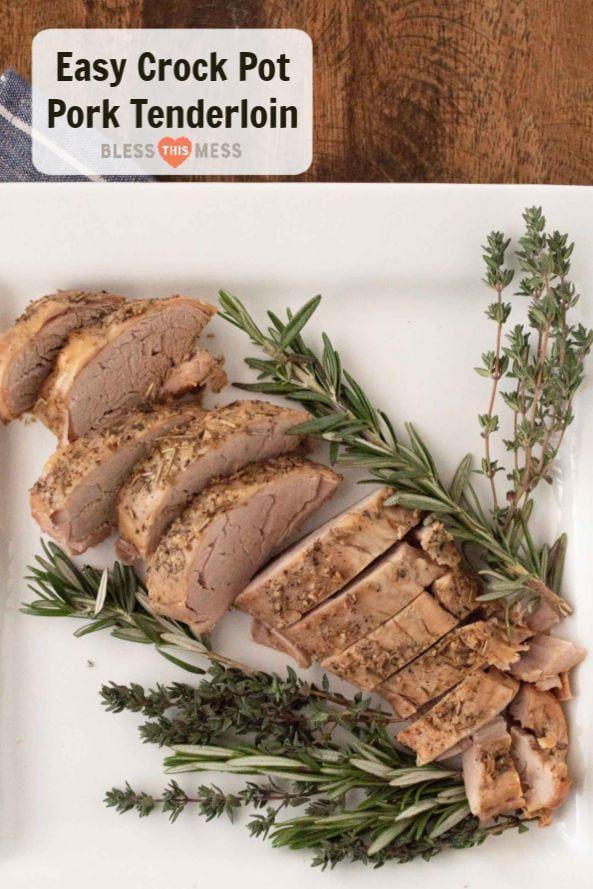Garlic Herb Crock Pot Pork Tenderloin | Easy Pork Tenderloin #porktenderloinrecipes
