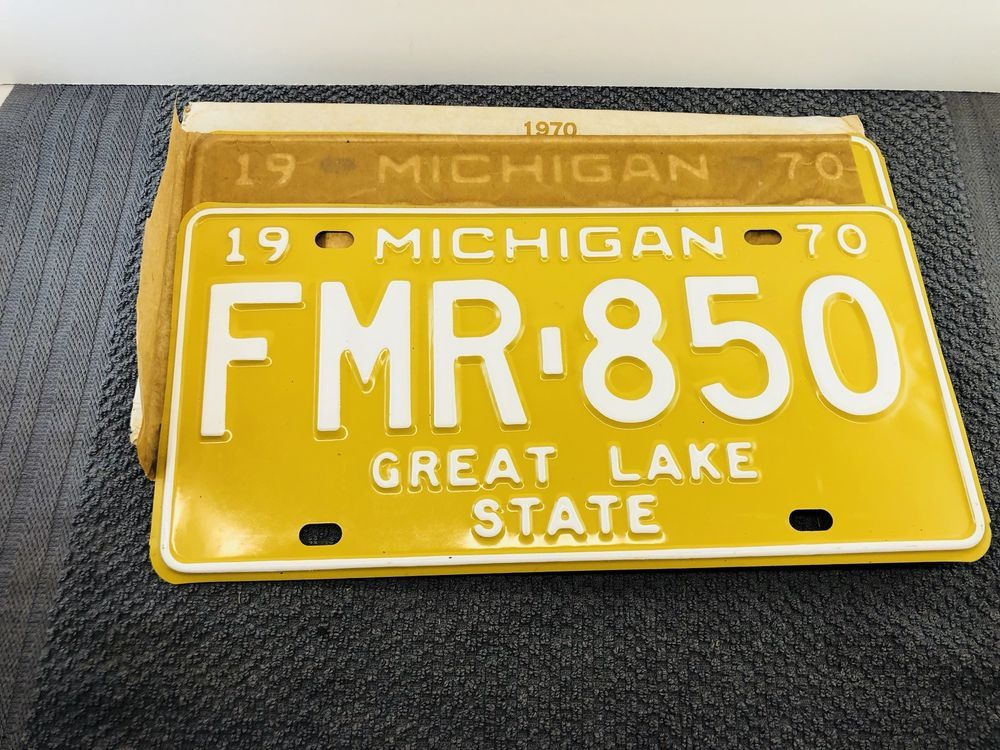 Vintage Pair of 1970 Michigan License Plates FMR 850 New Old Stock ...