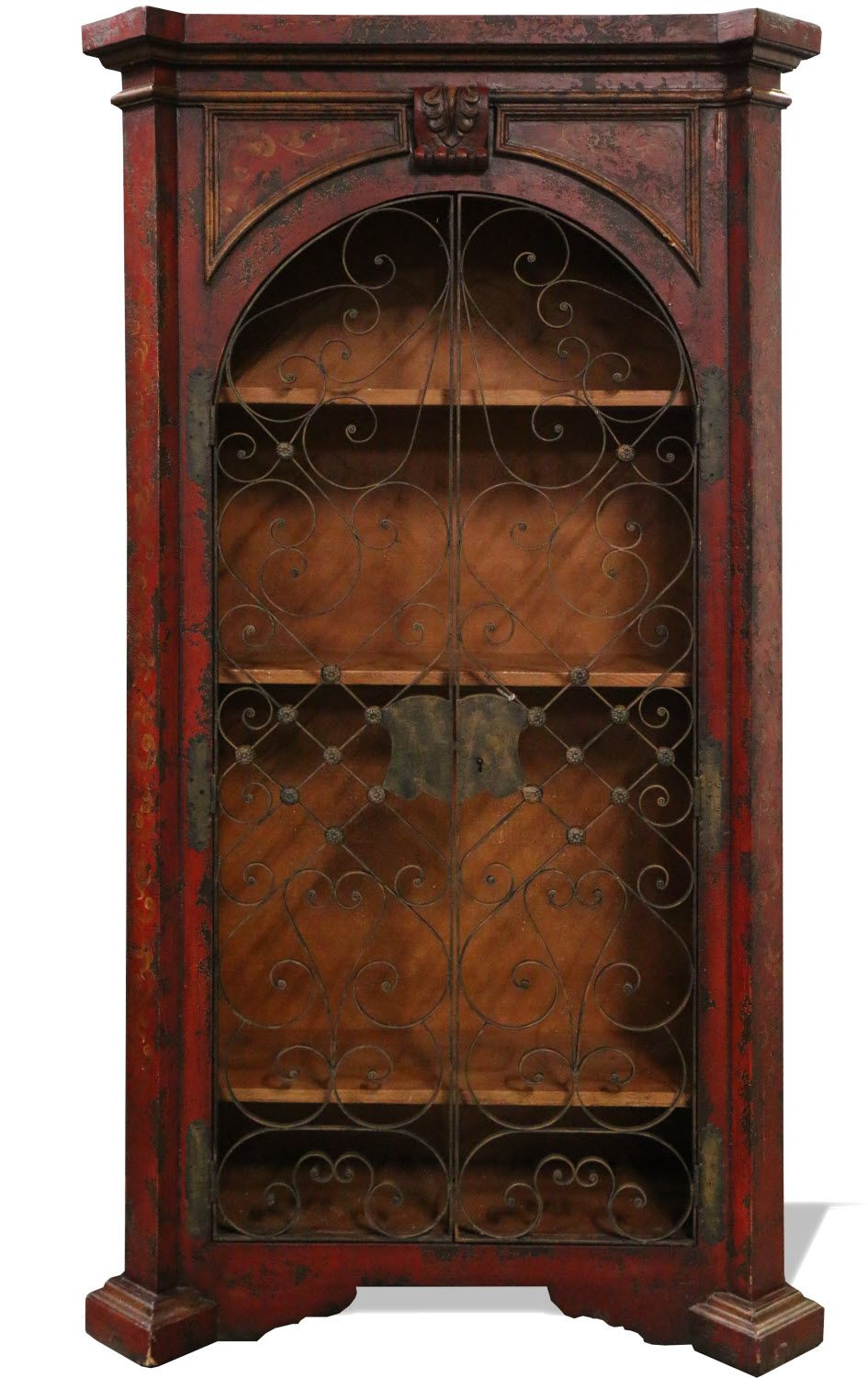 Old World Spanish Bookcase Hand Painted In Distressed Red