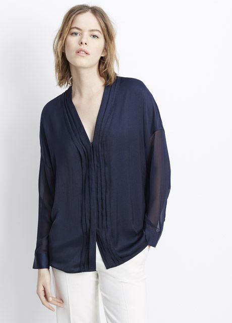 bd13e847f6d5dc Washed Satin Embroidered V-Neck Blouse | Vince | fashion | Blouse ...