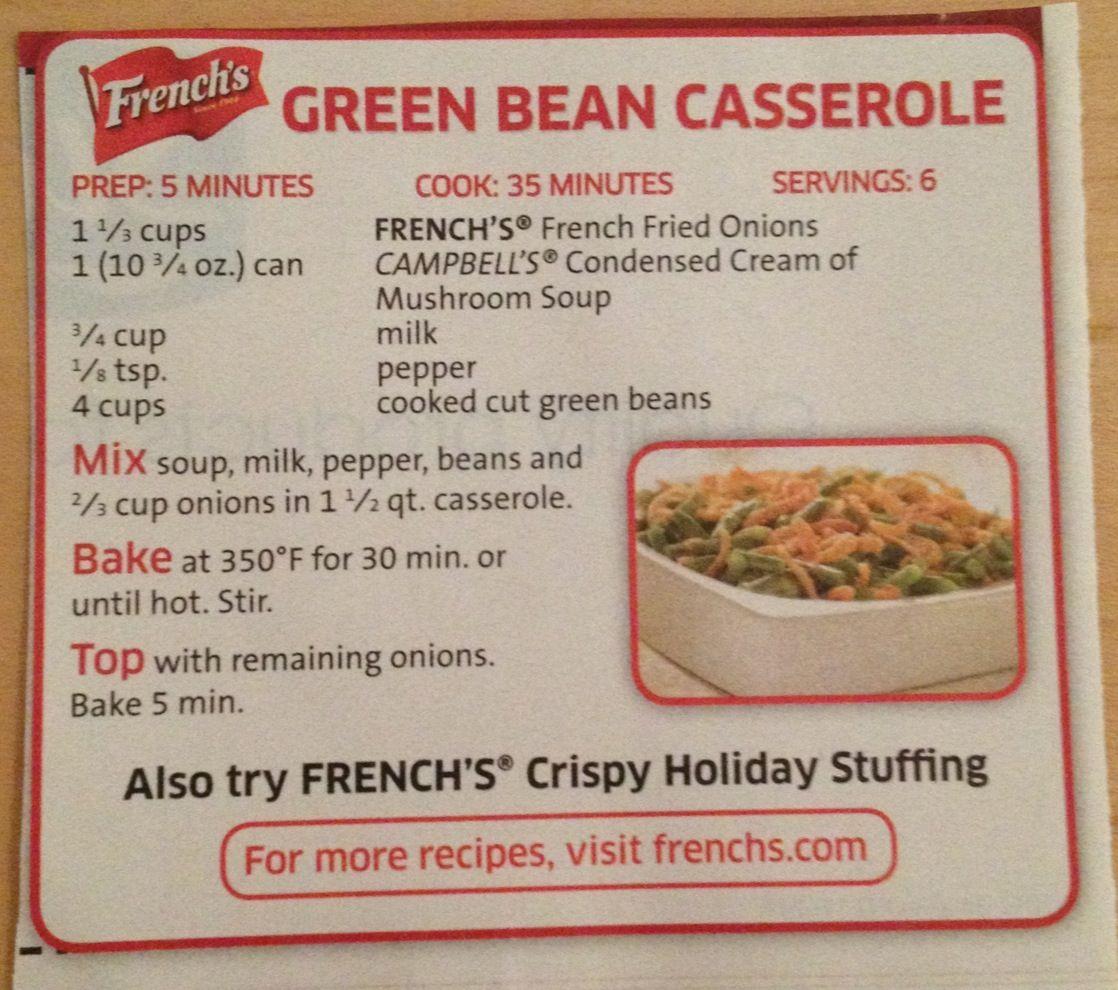 French S Green Bean Casserole In 2019 Green Bean Casserole Greenbean Casserole Recipe French