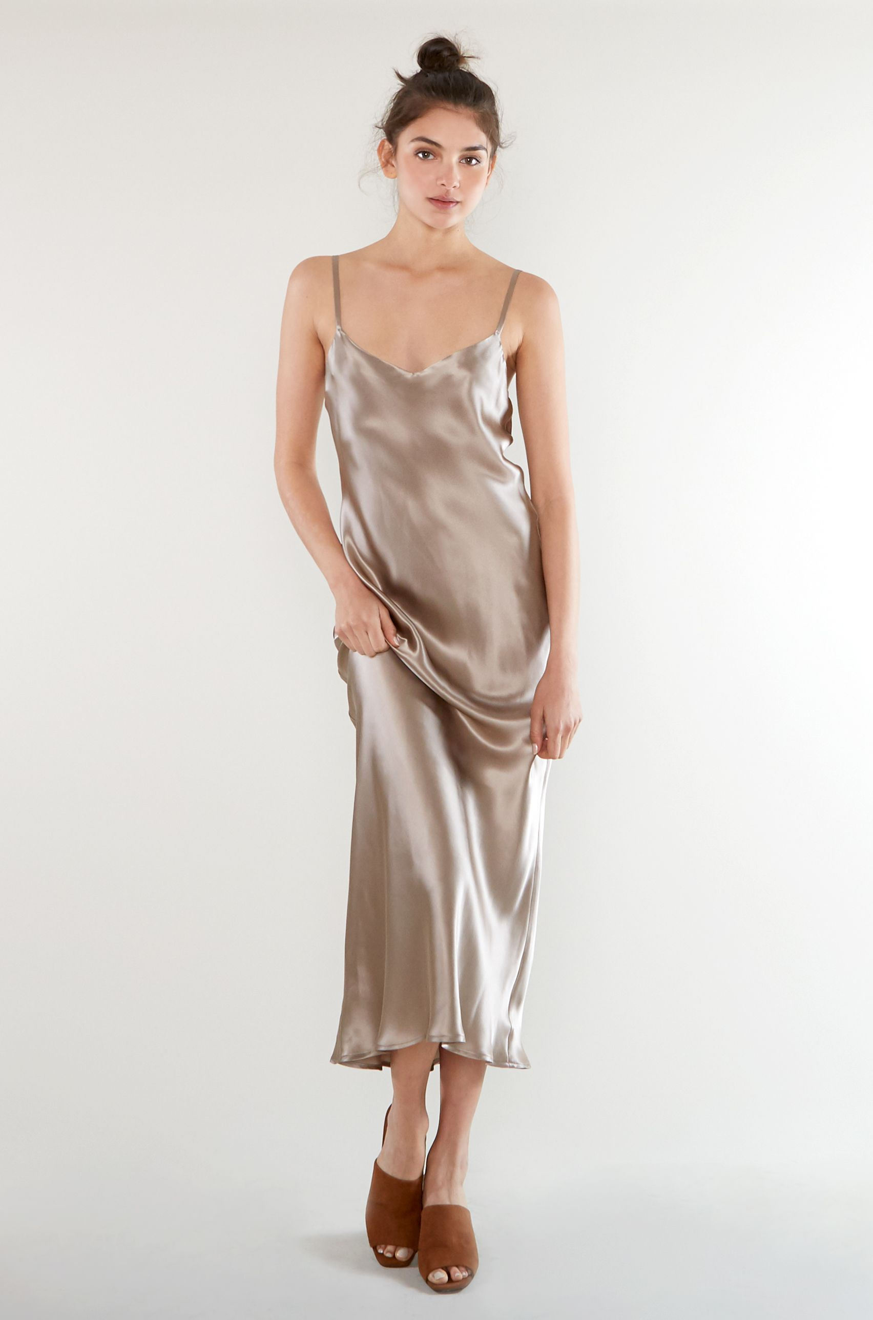 Oyster satin cocktail dress