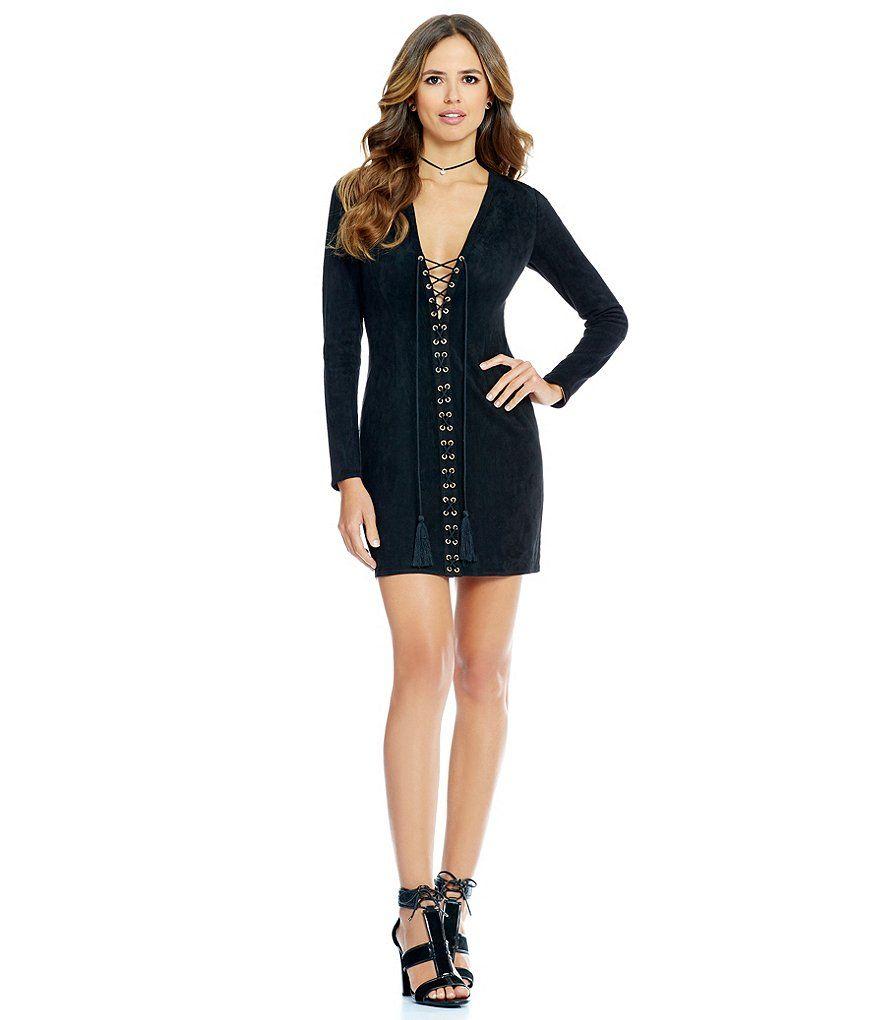 Gianni Bini Roxy Lace Up Faux Suede Dress