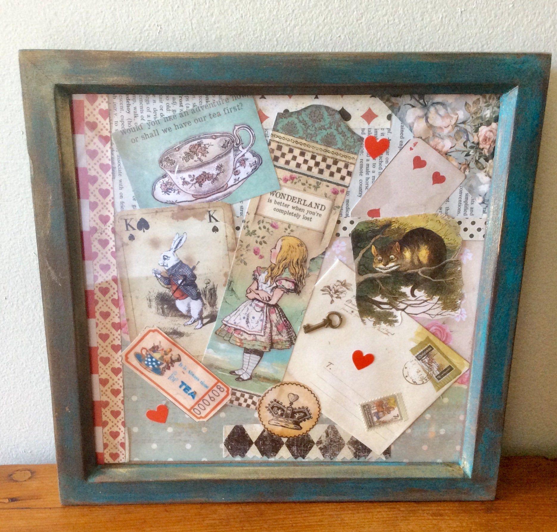 OOAK Alice in Wonderland framed mixed media Alice Art decor Cheshire Cat wall art Mad Hatter White Rabbit Lewis Carroll