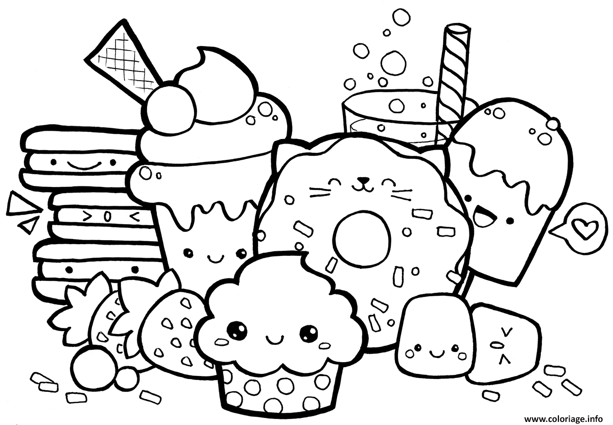 Coloriage Kawaii Food à Imprimer Coloriage Kawaii Dessin