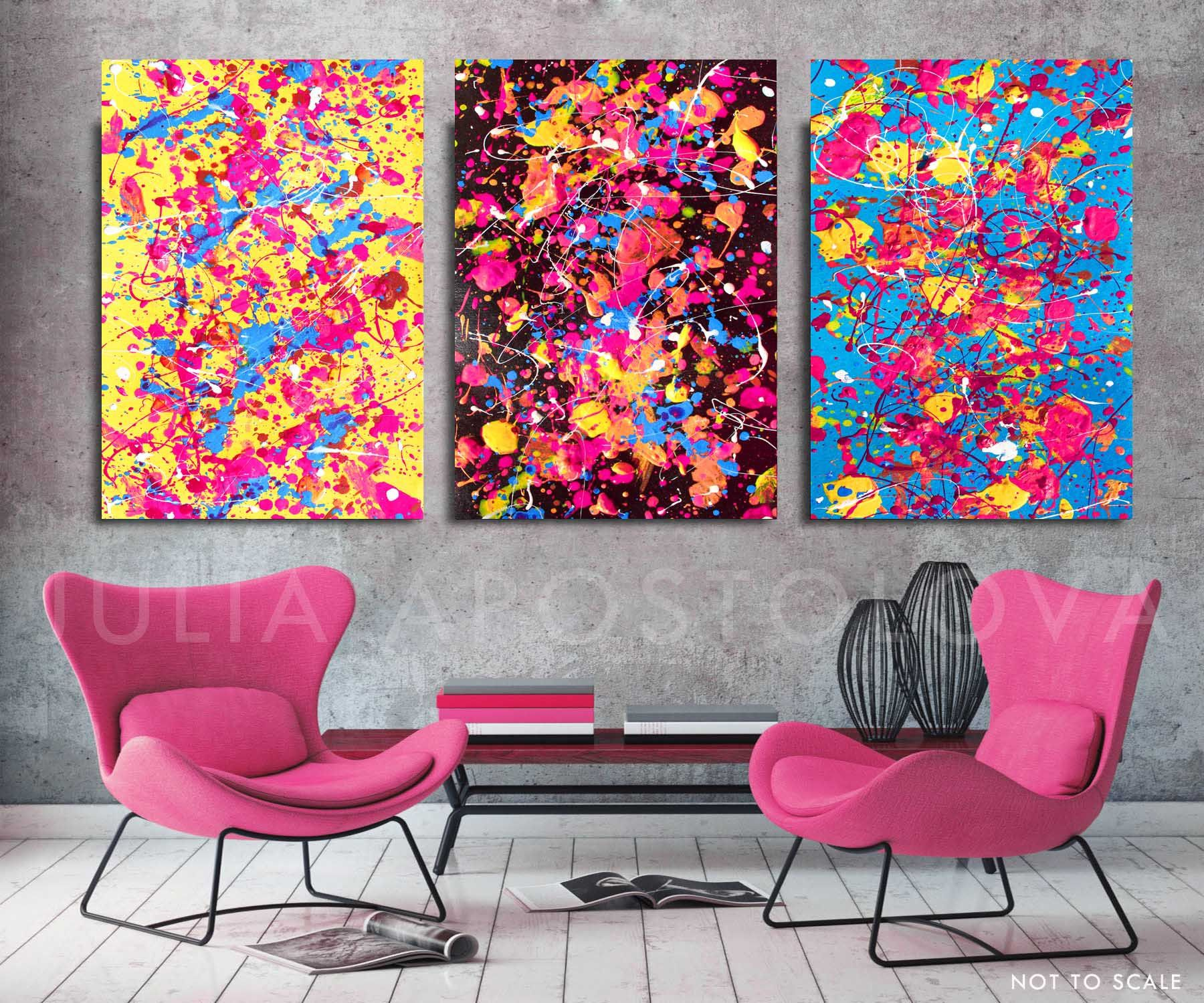 84inch Setof3 Prints Wallart Giclee On Canvas Colorful 80inch Painting Ruby Sky Watercolor Set 2 Huge Wall Art Colorful Paintings Abstract