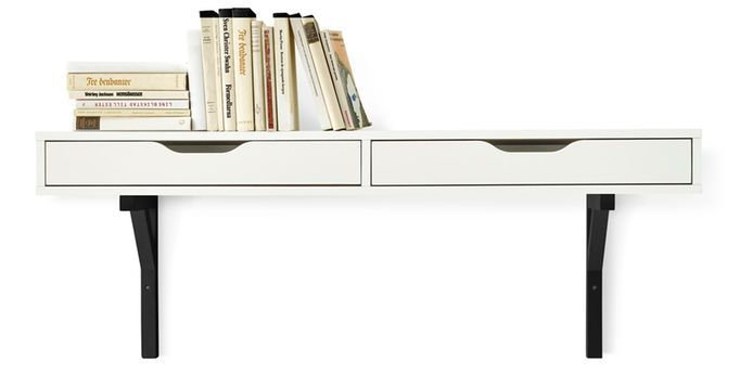 A White Ekby Alex Wall Shelf With Two 2 Drawers Ikea Floating Shelves Wall Shelves Ikea Wall Shelves