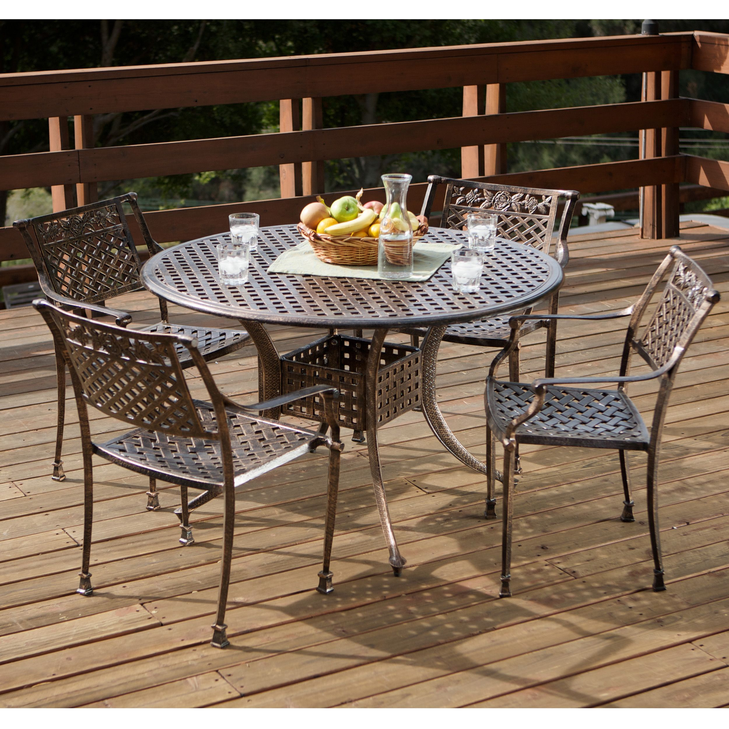 This Sebastian Outdoor Dining Set Showcases Rose Adorned Chair Backs. The  Basket Weave Pattern Shared By The Chairs And Table Add Extra Opulence And  ...
