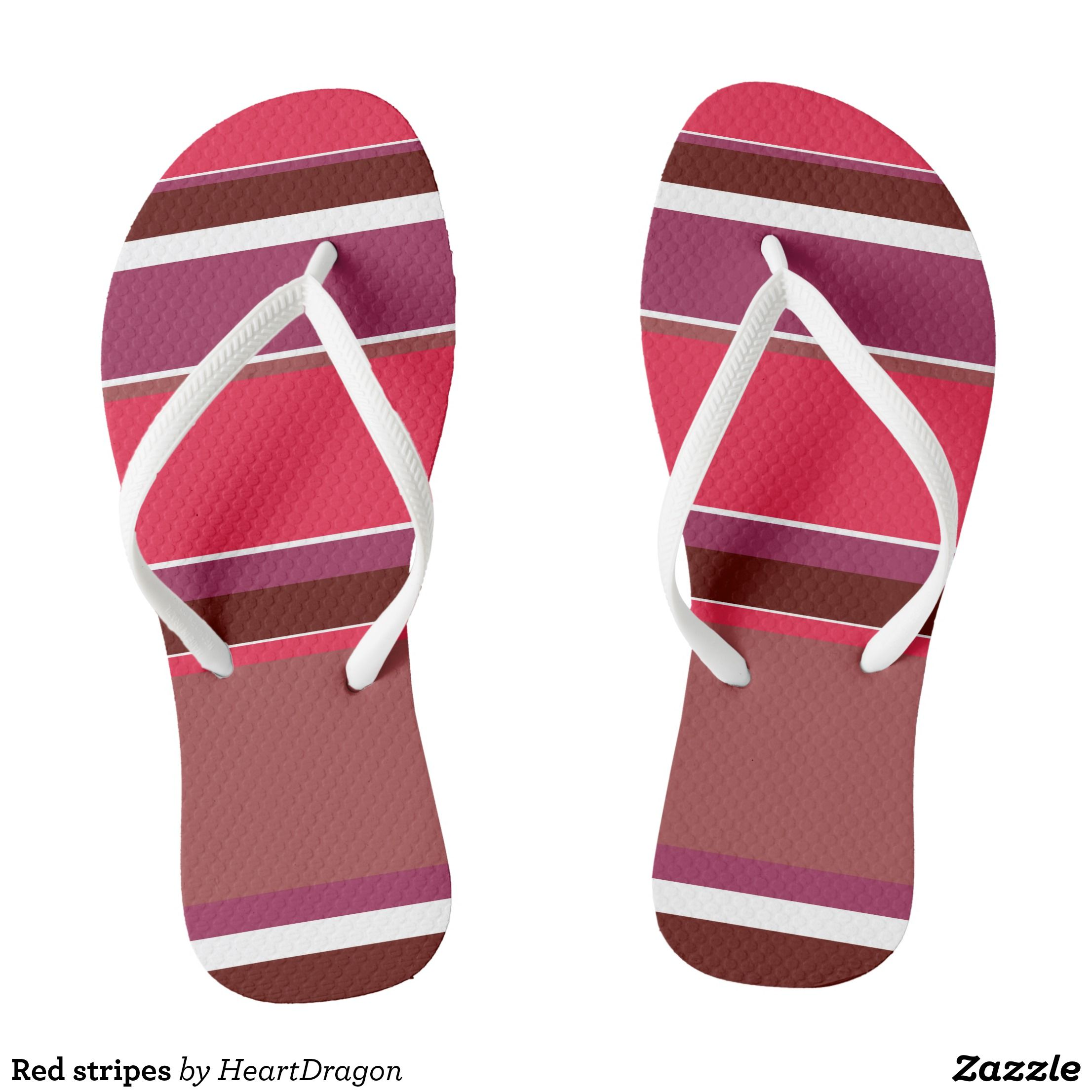 09f778522c913 Red stripes flip flops - Canvas-Top Rubber-Sole Athletic Shoes By Talented  Fashion