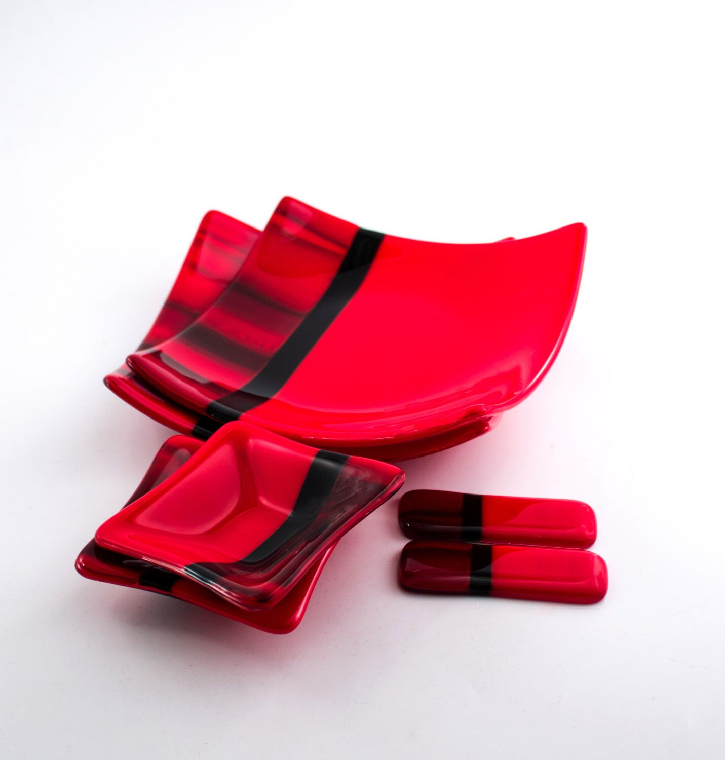 Red and Black Sushi Set Asian Dinnerware Fused Glass Square