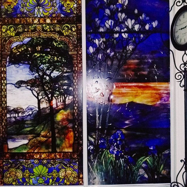 Photo of Door Wall Sticker *Stained Glass with Bevels* / Self-Adhesive Vinyl Decal Poster Mural / Self-Adhesive Wallpaper