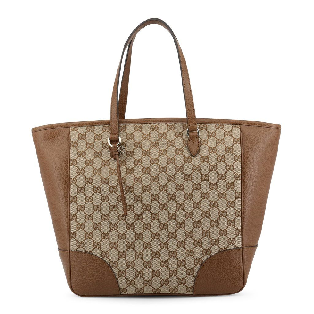 d1ec27a04695 Gucci Monogram Brown/Tan Leather and GG Patern Cloth Tote in 2019 ...