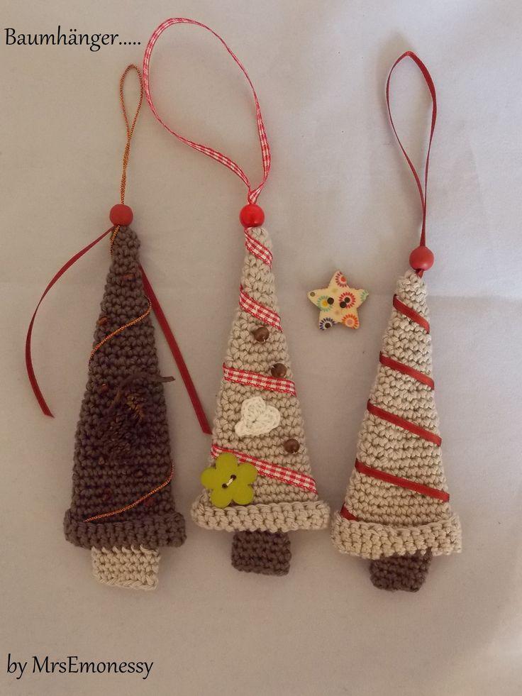 DIY Häkeln Tannenbaum Hänger Weihnachten Mitbringsel Gratisanleitung #crochetelements