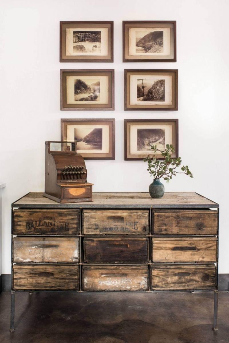 meubles industriels en bois m tal et cuir un chalet ski. Black Bedroom Furniture Sets. Home Design Ideas