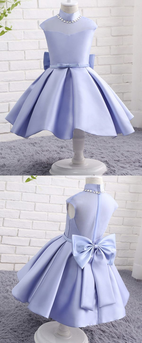 7b5899d5dd In Stock Modern Organza   Satin High Collar Neckline Ball Gown Flower Girl  Dresses With Bowknot   Beadings
