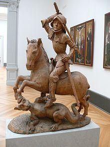 Bronze Holz Skulptur Heiliger Georg