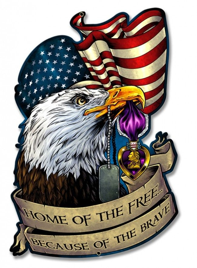 Purple Heart Eagle Flag Metal Sign 13 X 20 Inches Metal Signs Purple Heart American Flag Tattoo