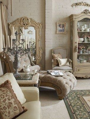 Vintage French Style Beige Living Rooms French Vintage Decor Home