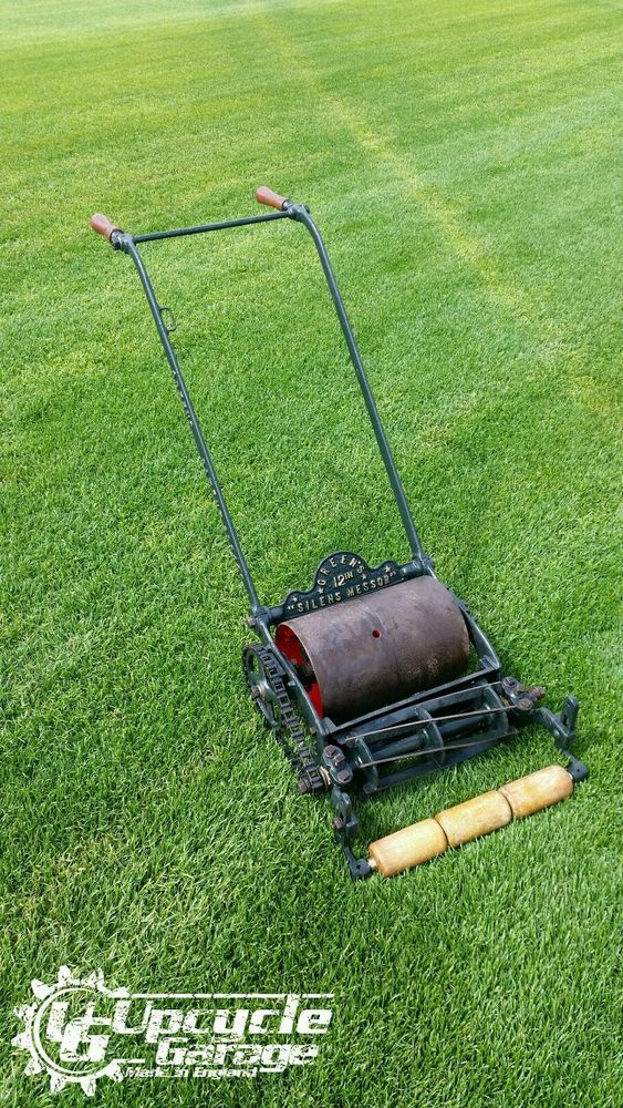 Green S 12 Silens Messor Vintage Antique Lawn Mower Made In England Lawn Mower Cylinder Mower Lawn