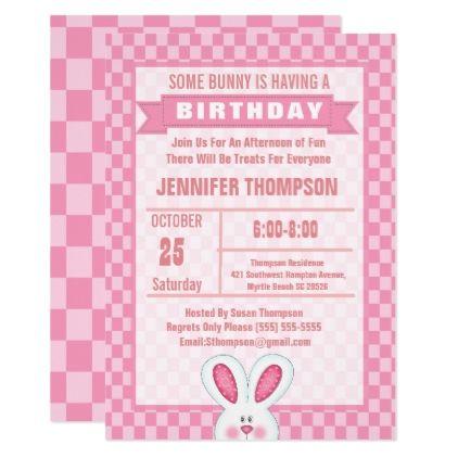 cute bunny rabbit birthday party invitation diy cyo customize