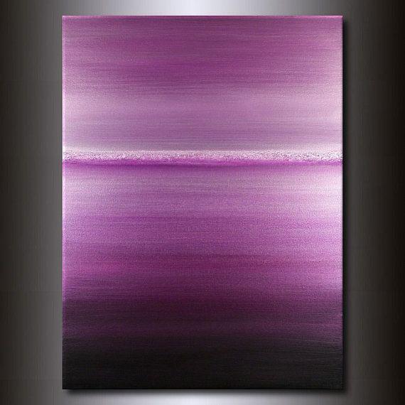 Purple Abstract Horizon Painting Monochromatic 30x40