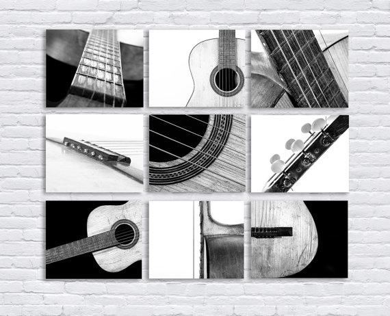black and white vintage acoustic guitar parts set of nine stretched canvas prints music theme. Black Bedroom Furniture Sets. Home Design Ideas
