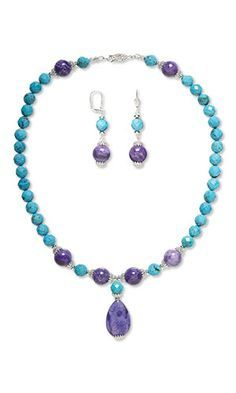 Photo of Single-Strand Necklace and Earring Set with Turquoise Gemsto…