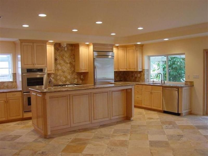 kitchen color schemes with maple cabinets | maple kitchen ... on What Color Granite Goes With Honey Maple Cabinets  id=44707