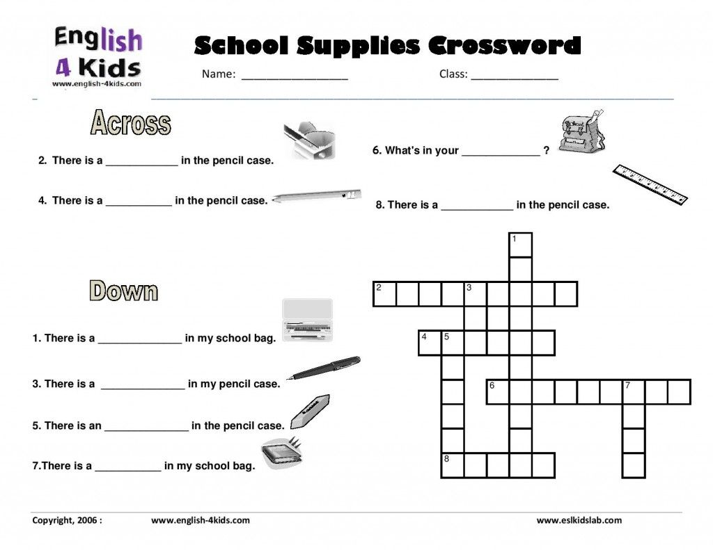 School Items Crossword