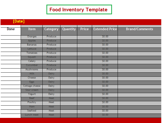 Food Inventory Template  Wordstemplates    Template